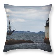Salem's Friendship Sails Past Fort Pickering Lighthouse Throw Pillow