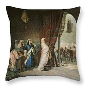 Salida Del Boabdil, At The Alhambra Oil On Canvas Throw Pillow