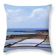 Salinas De Janubio On Lanzarote Throw Pillow