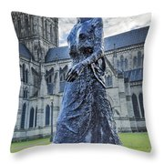Salisbury Cathedral And The Walking Madonna 2 Throw Pillow