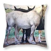 Sally's Horses Throw Pillow