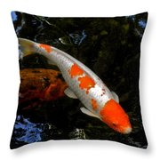 Salmon And White Koi Throw Pillow