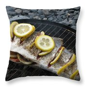Salmon For Supper Throw Pillow