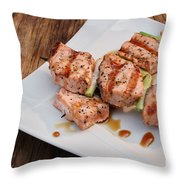 Salmon Teriyaki Skewers Throw Pillow