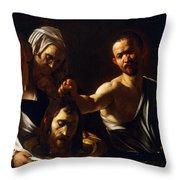 Salome Receives Head Of John The Baptist Throw Pillow by Michelangelo Merisi da Caravaggio