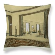Salon, From Repertoire Of Modern Taste Throw Pillow by Jacques-Emile Ruhlmann