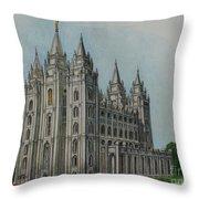 Salt Lake City Temple I Throw Pillow