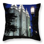 Salt Lake Mormon Temple At Night Throw Pillow