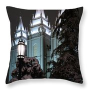 Salt Lake Temple In The Snow Throw Pillow