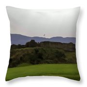 Saltire And The Ruins Of The Urquhart Castle In Scotland At A He Throw Pillow