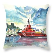 Salvage Ship In Cartagena Throw Pillow