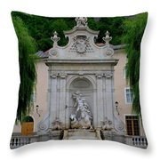 Salzburg Castle With Fountain Throw Pillow by Carol Groenen