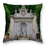 Salzburg Castle With Fountain Throw Pillow