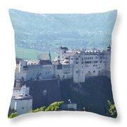 Salzburg Fortress Panorama Throw Pillow
