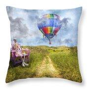 Sam Contemplates Ballooning Throw Pillow