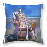 Sam Enjoys The Beach -- Again Throw Pillow