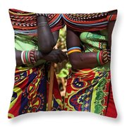 Samburu Women Dancing Kenya Throw Pillow