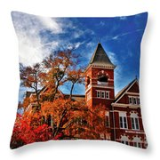 Samford Hall In The Fall Throw Pillow by Victoria Lawrence