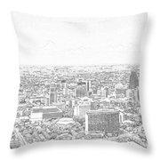 San Antonio Downtown Lineart Throw Pillow