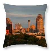 San Antonio - Skyline At Sunset Throw Pillow