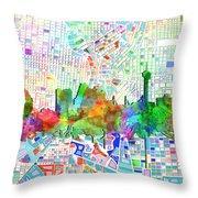 San Antonio Skyline Watercolor 6 Throw Pillow