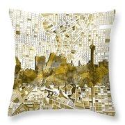 San Antonio Skyline Watercolor 7 Throw Pillow