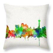 San Antonio Skyline Watercolor Throw Pillow