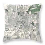 San Antonio Texas Hand Drawn Map  1909 Throw Pillow