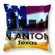 San Antonio Tx Patriotic Large Cityscape Throw Pillow