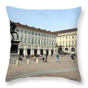 San Carlo Square In Turin Throw Pillow