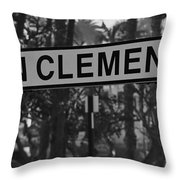San Clemente Station Sign Throw Pillow