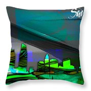 San Diego California Skyline Watercolor Throw Pillow
