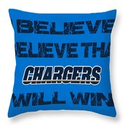 San Diego Chargers I Believe Throw Pillow