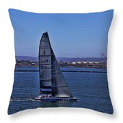San Diego Harbor Sailing Throw Pillow