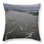 San Diego Mission Bay Water Aerial Throw Pillow