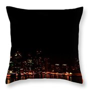 San Diego Night Skyline Throw Pillow
