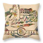 San Diego Padres Memorabilia Throw Pillow