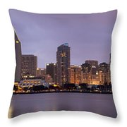 San Diego Skyline At Dusk Panoramic Throw Pillow