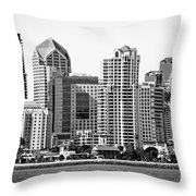 San Diego Skyline In Black And White Throw Pillow