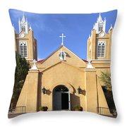 San Felipe Church - Old Town Albuquerque   Throw Pillow