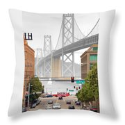 San Francisco Bay Bridge And Bay Quackers Throw Pillow