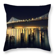 San Francisco Bay Bridge Illuminated Throw Pillow