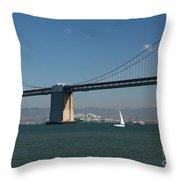 San Francisco Bay Bridge West Span Vii Throw Pillow by Suzanne Gaff