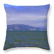 San Francisco Bay Golden Gate Bridge    Alcatraz Panorama Throw Pillow