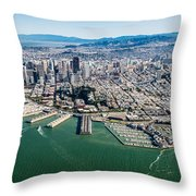 San Francisco Bay Piers Aloft Throw Pillow