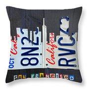 San Francisco California Skyline License Plate Art Throw Pillow