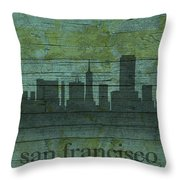 San Francisco California Skyline Silhouette Distressed On Worn Peeling Wood Throw Pillow
