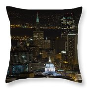 San Francisco Cityscape With City Hall At Night Throw Pillow