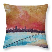 San Francisco Golden Gate Bridge In The Clouds Throw Pillow
