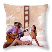 San Francisco Guitar Man Throw Pillow